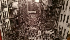 A rare photo of Mott Street in Chinatown NYC circa 1938 on display at the Taiwan Cultural Center.