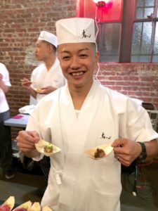 Atsushi Kono of Torishin with his prized chicken pâté with saikyo miso. © Kaori Mahajan for WhereNYC