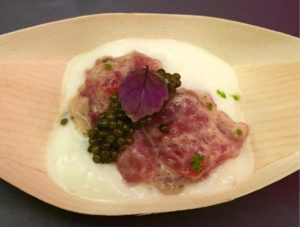Chef Chris D'Ambrosio of Bouley's Tahitian inspired dish. © Kaori Mahajan for WhereNYC