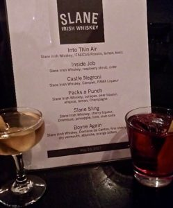 Slane Irish Whiskey Cocktail Menu at Middle Branch © Tokyoracer for WhereNYC